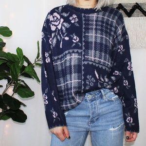 Vintage Medallion Blue Floral Grandpa Sweater